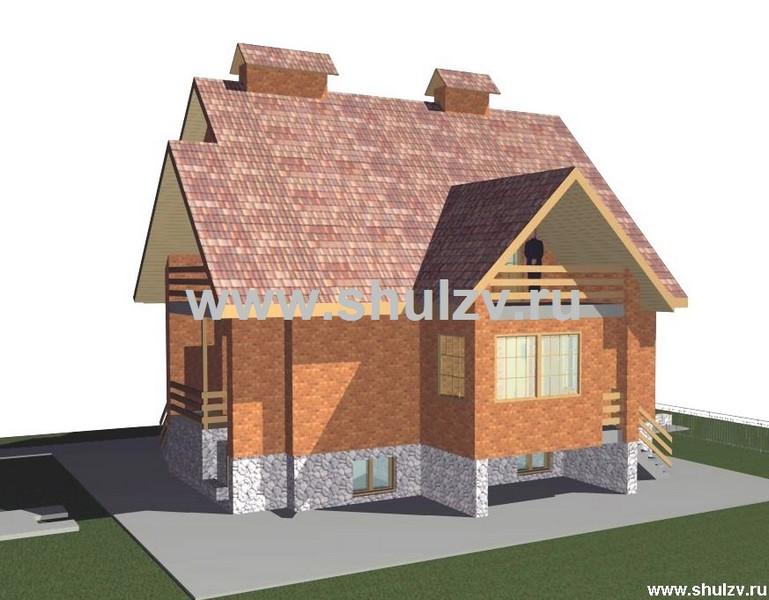 Двухэтажный четырехкомнатный жилой дом с цокольным этажом.