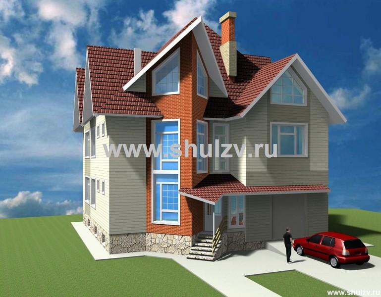 Трехэтажный пятикомнатный жилой дом с гаражом.