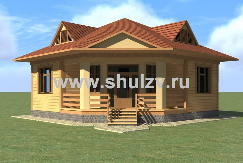 Одноэтажный двухкомнатный жилой дом (бунгало)