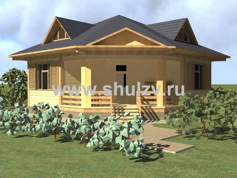 Одноэтажный двухкомнатный жилой дом сезонного проживания (бунгало)